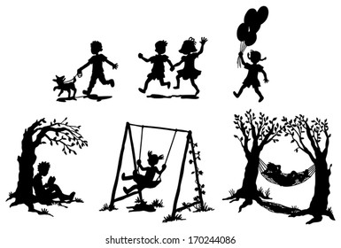 Sets of silhouette children boy and girl in action expression and relaxation with toy pet or leisure item icon set, create by vector