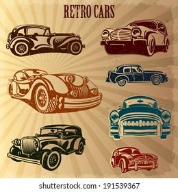 Sets of silhouette retro cars