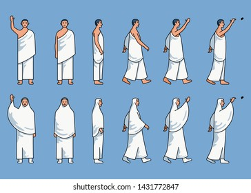 Sets of simple line art character of hajj pilgrim. Suitable for info graphic about hajj theme.