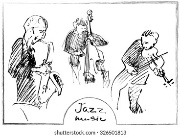 Sets of the sketched musicians. Hand-drawn illustration.