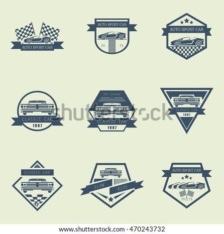 Sets Sports Classic Car Logo Emblems Stock Vector Royalty Free