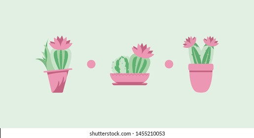 sets of stickers in the form of cacti in the style of kawaii. great icons for your work