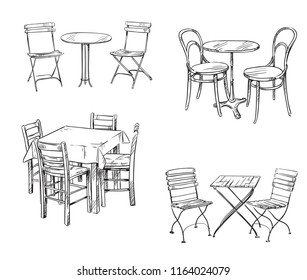 Sets of tables and chairs. Furniture sketch.
