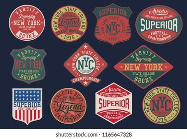 Sets of Vintage varsity vector graphics.