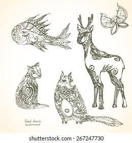 Sett of decorative tribal animals