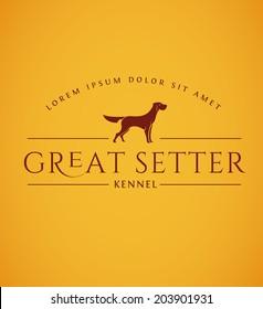 Setter Dog Emblem. Vintage Dog Logo. Hunting Dog Vector Icon