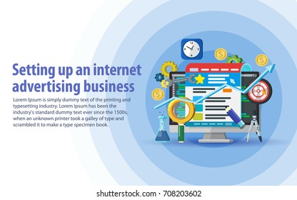 Setting up and analytics of advertising on the Internet. Targeting audience through advertising, branding, and digital media marketing concept. Monitor, web page, magnifying glass in a flat style.