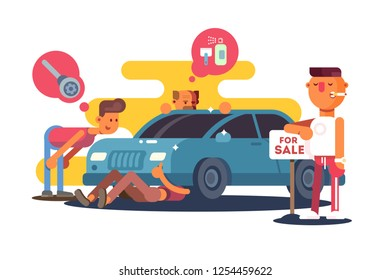 Setting car for sale vector illustration. Men inspecting technical condition of automobile flat style concept. Smoking boy standing at nameplate for sale