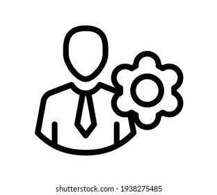 setting employee single isolated icon with outline style