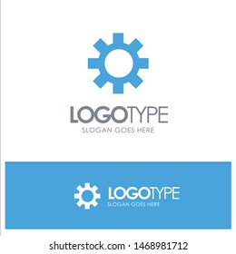 Setting, Gear, Logistic, Global Blue Solid Logo with place for tagline. Vector Icon Template background