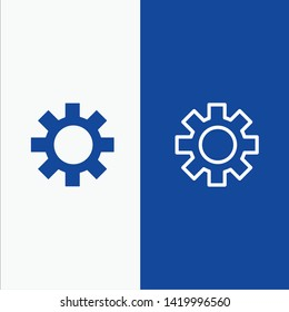 Setting, Gear, Logistic, Global Line and Glyph Solid icon Blue banner Line and Glyph Solid icon Blue banner