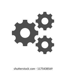 Setting, Gear, Tool, Cog Isolated Flat Web Mobile Icon Vector Sign Symbol Button Element Silhouette