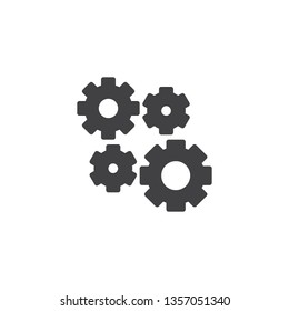 Setting Gears, cogwheels vector icon. filled flat sign for mobile concept and web design. Cog gears mechanism glyph icon. Symbol, logo illustration. Pixel perfect vector graphics