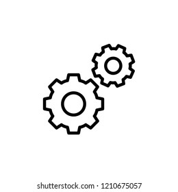 Setting Icon Vector. Gear or Cog on Line Art Style & White Background. EPS 10.