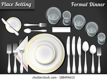 Setting Place Formal Placemat. Place Setting Informal Place Mat. Formal Placement Plate Napkins. Informal Placement Flatware. Vintage Placement Diagram Etiquette. Dinner Etiquette Mat Vector Image