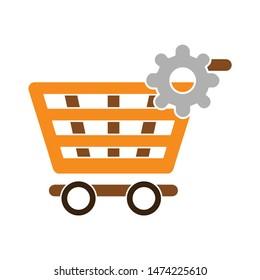 setting product shopping icon. flat illustration of setting product shopping vector icon. setting product shopping sign symbol