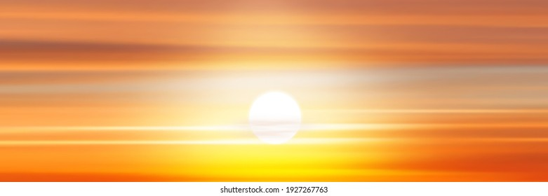 Setting sun, panoramic view of the sunset sky
