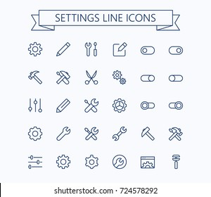 Setting  thin line mini icons set. 24x24 Grid. Pixel Perfect.Editable stroke.