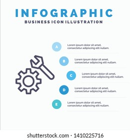 Setting, Wrench, Gear Line icon with 5 steps presentation infographics Background