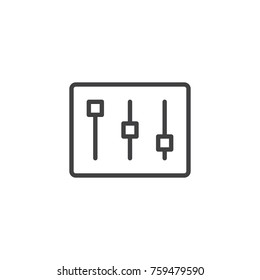 Settings bar line icon, outline vector sign, linear style pictogram isolated on white. Mixer, music equalizer symbol, logo illustration. Editable stroke