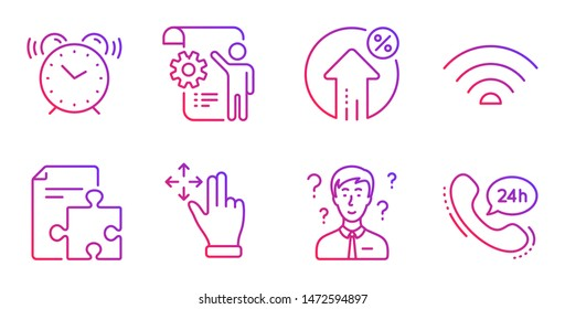 Settings blueprint, Alarm clock and Move gesture line icons set. Strategy, Support consultant and Wifi signs. Loan percent, 24h service symbols. Engineering cogwheel, Time. Technology set. Vector