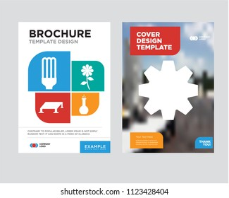 Settings brochure flyer design template with abstract photo background, Flask, Flower, Solar panel, Light bulb minimalist trend business corporate roll up, icon pack