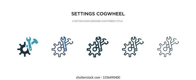 settings cogwheel button icon in different style vector illustration. two colored and black settings cogwheel button vector icons designed in filled, outline, line and stroke style can be used for