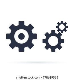 Settings icon with additional gears icon, vector illustration. Cog tools, Gear Sign Isolated on white background. Help options account concept. Trendy Flat style for graphic design, logo set