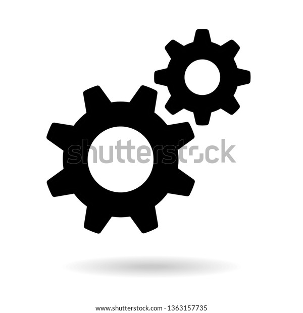 Settings Icon Black Gears Functions Symbol Stock Vector