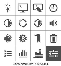 Settings icon set. Control icons. Vector illustration. Simplus series