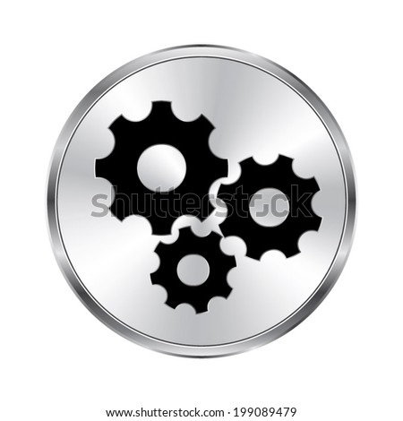 Settings Icon Vector Brushed Metal Button Stock Vector (Royalty Free