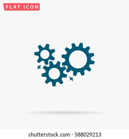 Settings Icon Vector. Flat simple Blue pictogram on white background. Illustration symbol with shadow.