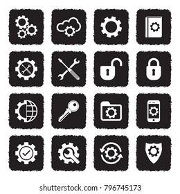 Settings Icons. Grunge Black Flat Design. Vector Illustration.