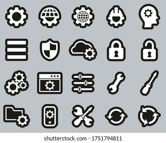 Settings Icons White On Black Sticker Set Big