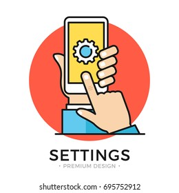 Settings on smartphone screen. Hand holding cellphone, user touching gear icon. Mobile app settings menu, software update, downloading, installing new OS concepts. Flat line design vector illustration