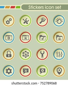 settings round sticker icons for your creative ideas