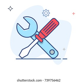 Settings  Service Tools,Screwdriver and Spanner  Icon