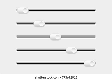 Settings slider. Set of interface elements. Vector 3d illustration