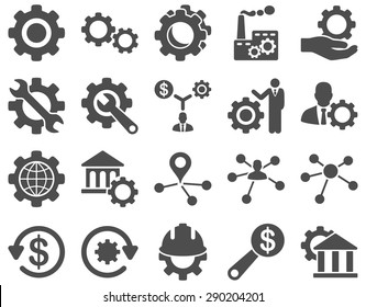 Settings and Tools Icons. Vector set style: flat images, gray color, isolated on a white background.