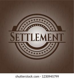 Settlement wooden emblem. Vintage.