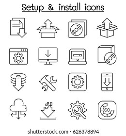 Setup , configuration, maintenance & Installation icon set in thin line style