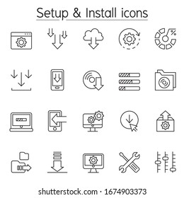 Setup & Install icon in thin line style