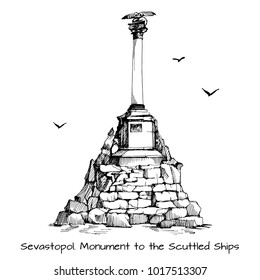 Sevastopol city symbol: Monument to the scuttled ships. Sketch. Drawing for souvenirs. Crimean War.