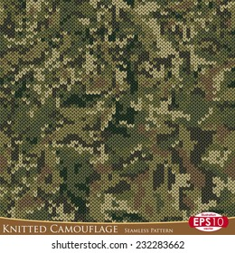 Seven basic colours military decorative knitted camouflage with high detail made fabric texture. Vector seamless pattern.
