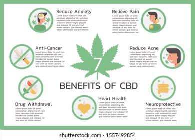 seven benefits of CBD or Cannabidiol, Cannabis infographic information concept, hemp. flat symbol icon vector illustration design.