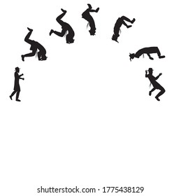 Seven black vector silhouettes of people, Hasidic Jews, Orthodox, doing a somersault.