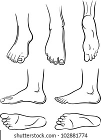 Seven black-outlined man feet isolated on white background.
