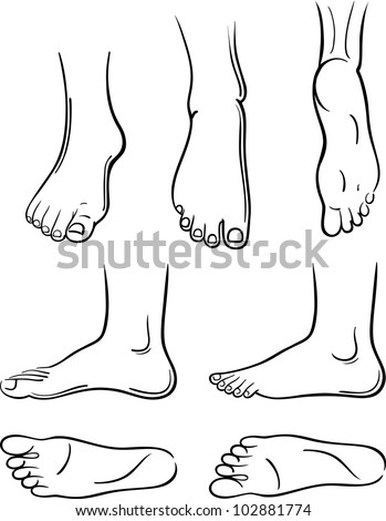 56bb15beb74 Seven Blackoutlined Man Feet Isolated On Stock Vector (Royalty Free ...