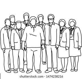 seven businessmen and two businesswomen standing together vector illustration sketch doodle hand drawn with black lines isolated on white background. Teamwork concept.