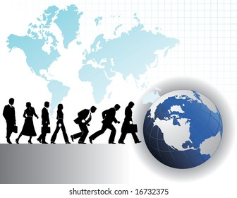 Seven businesspeople background with a global theme